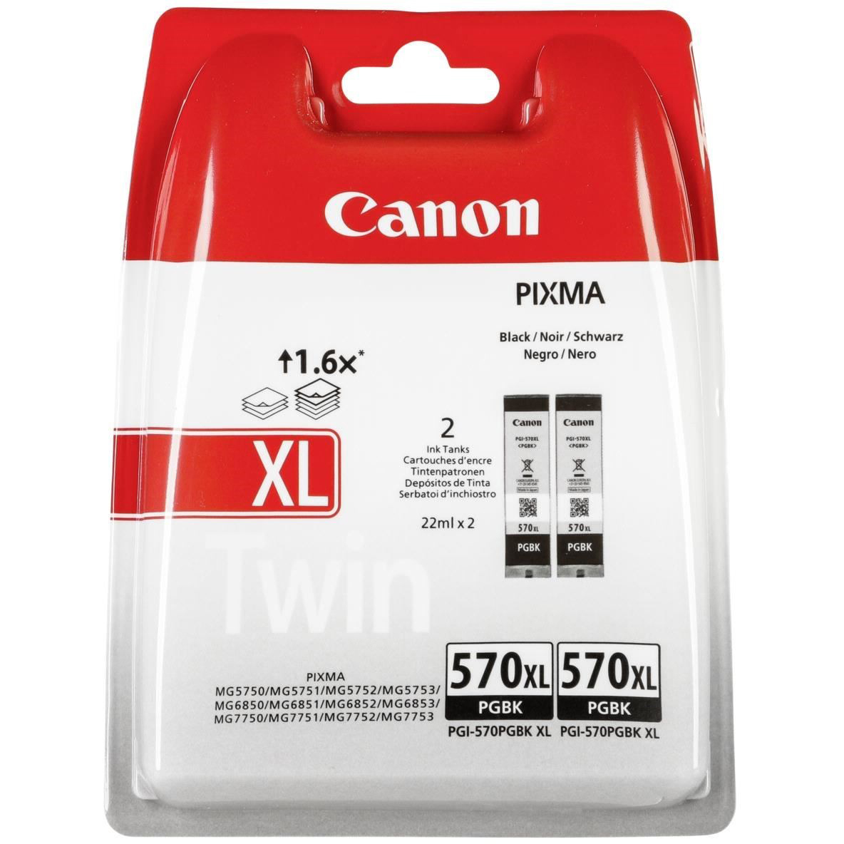 Original Canon PGI-570PGBKXL Black Twin Pack High Capacity Ink Cartridges (0318C007)