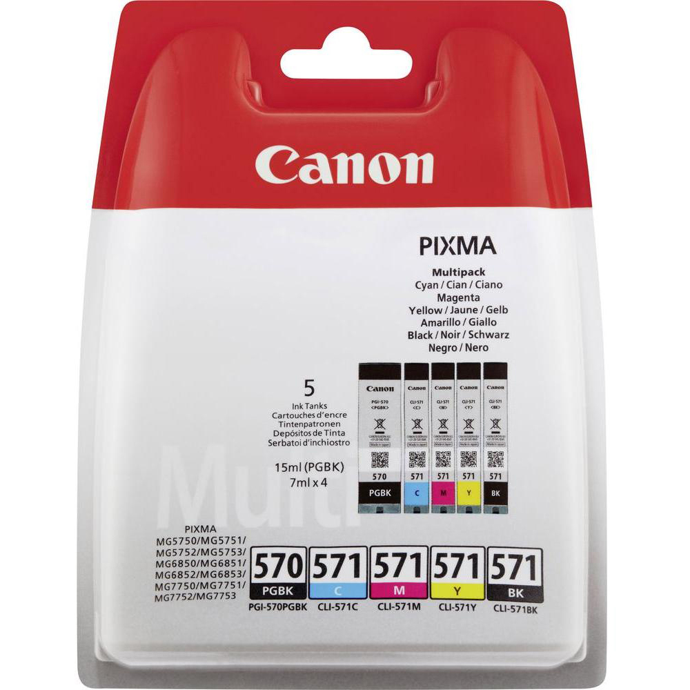 Original Canon PGI-570PGBK / CLI-571 C, M, Y, K Multipack Ink Cartridges (0372C004)