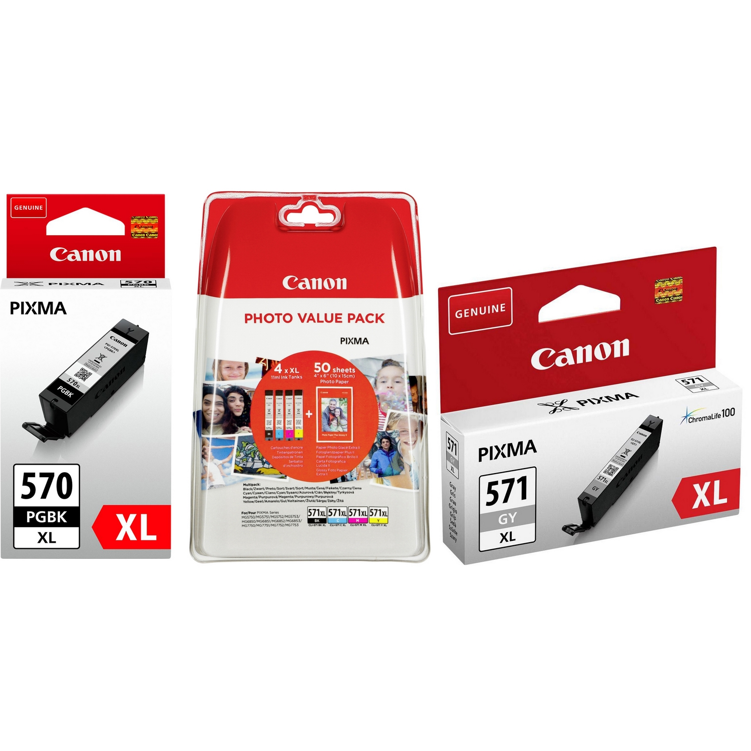 Original Canon PGI-570PGBKXL / CLI-571XL C, M, Y, K, GY Multipack High Capacity Ink Cartridges & Paper (0318C001 / 0332C005 / 0335C001)