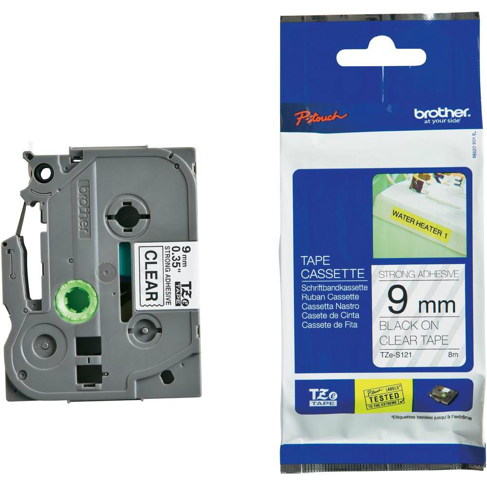 Original Brother TZE-S121 Black On Clear 9mm x 8m Strong Adhesive Laminated P-Touch Label Tape (TZES121)