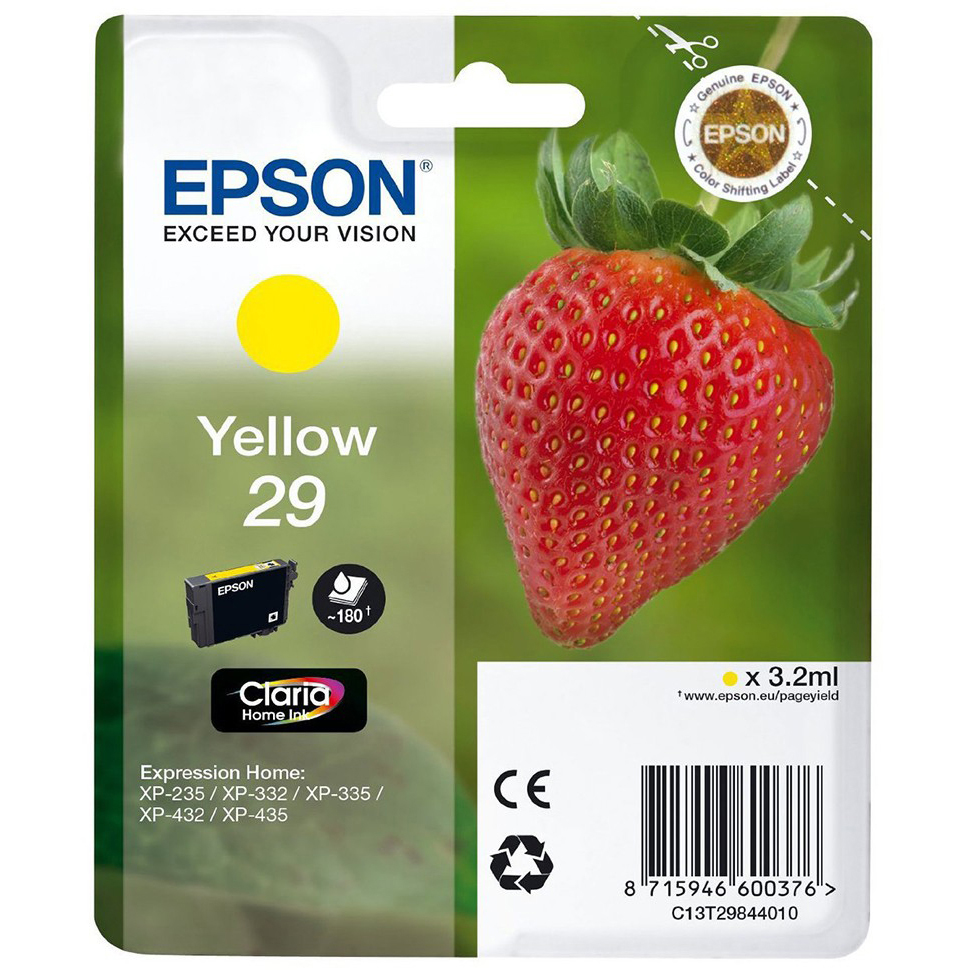 Original Epson 29 Yellow Ink Cartridge (C13T29844010)