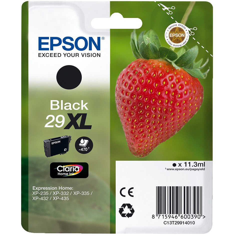 Original Epson 29XL Black High Capacity Ink Cartridge (C13T29914010)