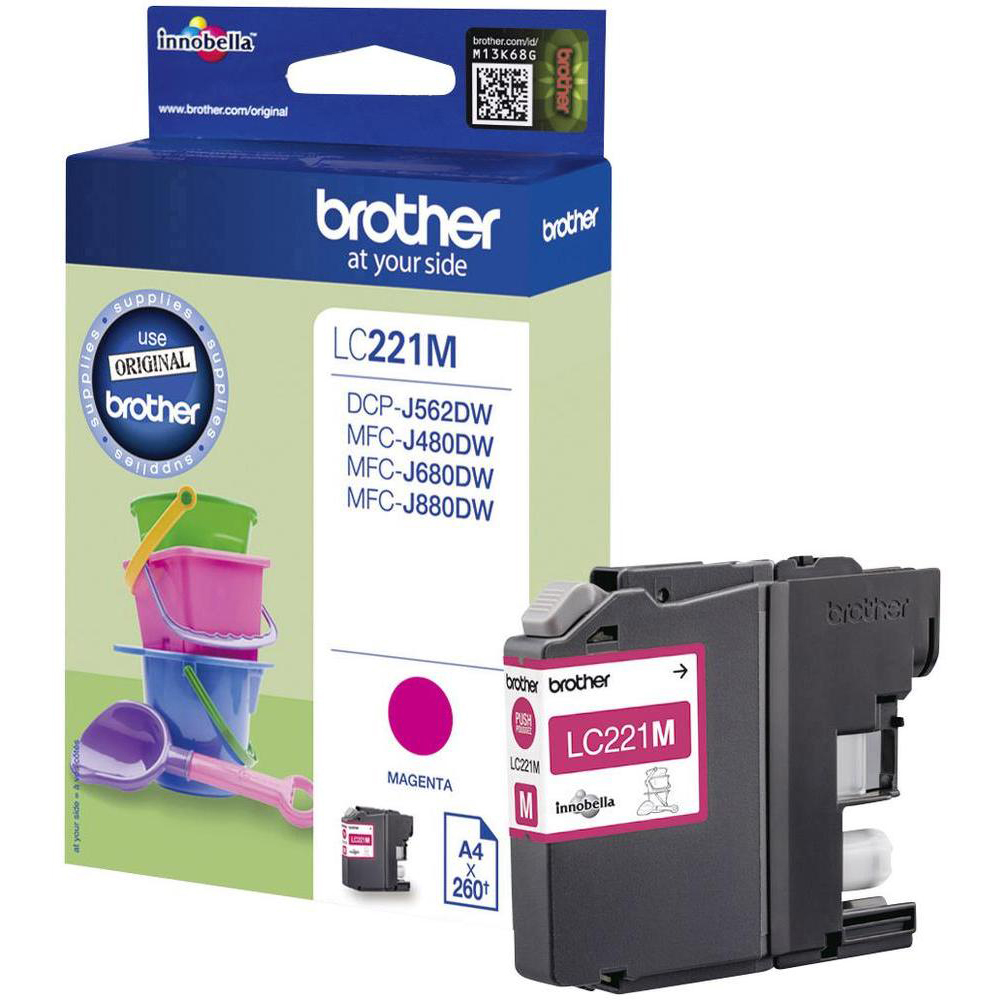 Original Brother LC221M Magenta Ink Cartridge (LC221M)