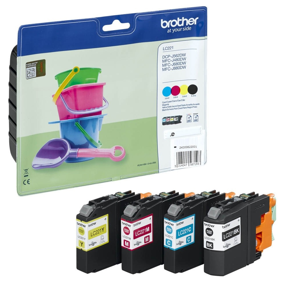Original Brother LC221 CMYK Multipack Ink Cartridges (LC221VALBP)