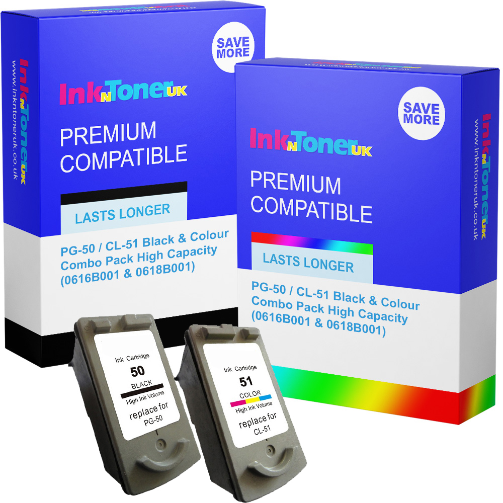 Premium Remanufactured Canon PG-50 / CL-51 Black & Colour Combo Pack High Capacity Ink Cartridges (0616B001 & 0618B001)