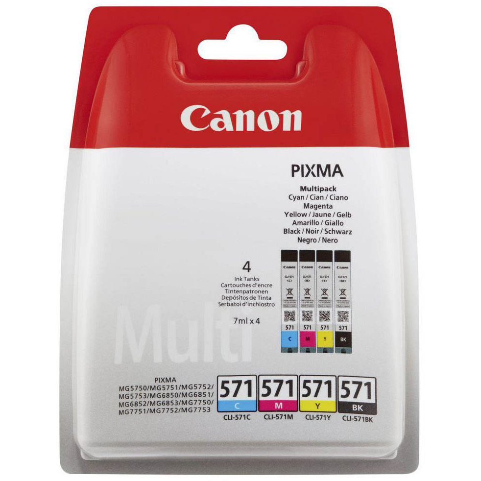 Original Canon CLI-571 CMYK Multipack Ink Cartridges & Paper (0386C006)