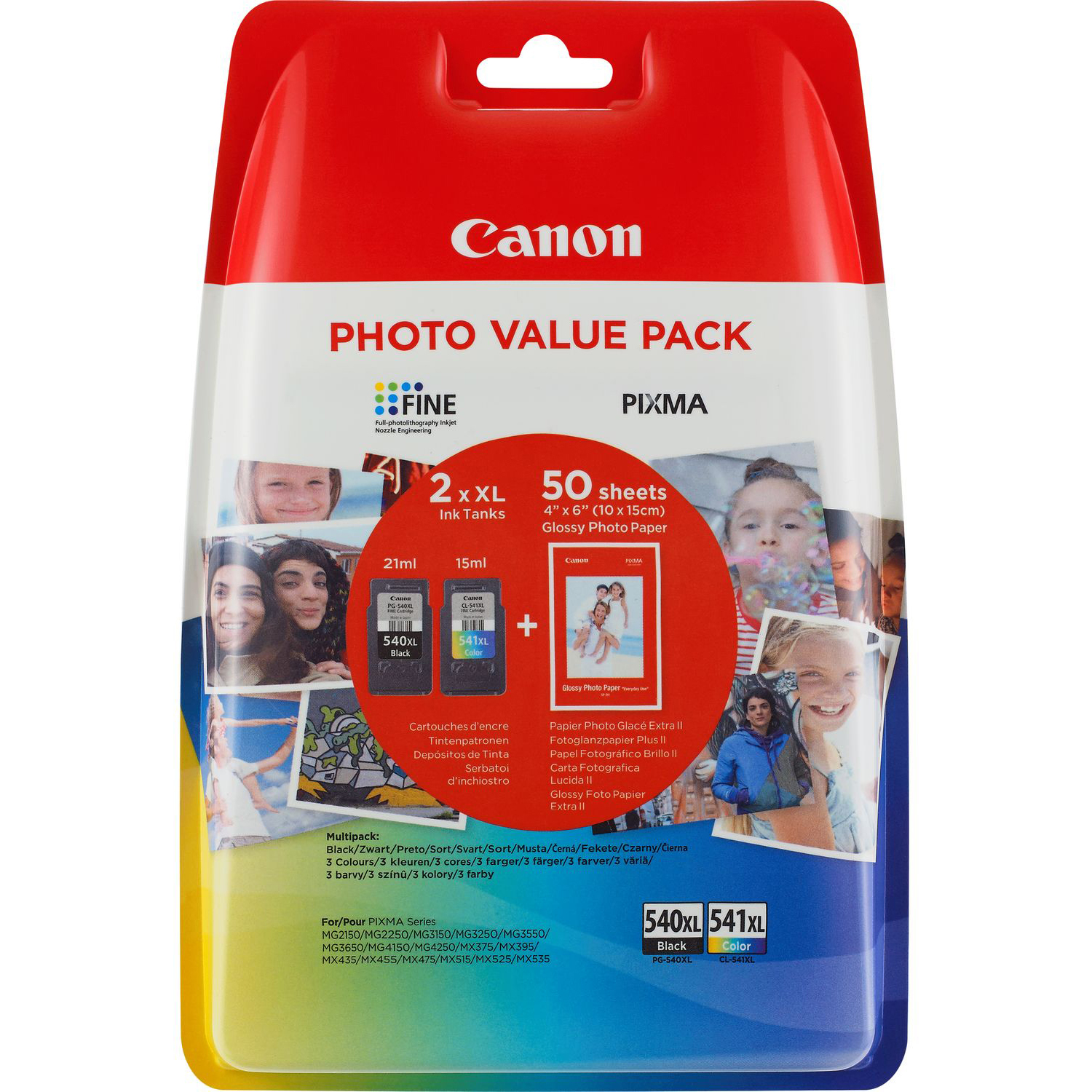 Original Canon PG-540XL / CL-541XL Black & Colour Combo Pack High Capacity Ink Cartridges & Paper (5222B013)