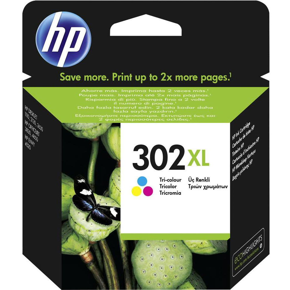 Original HP 302XL Colour High Capacity Ink Cartridge (F6U67AE)