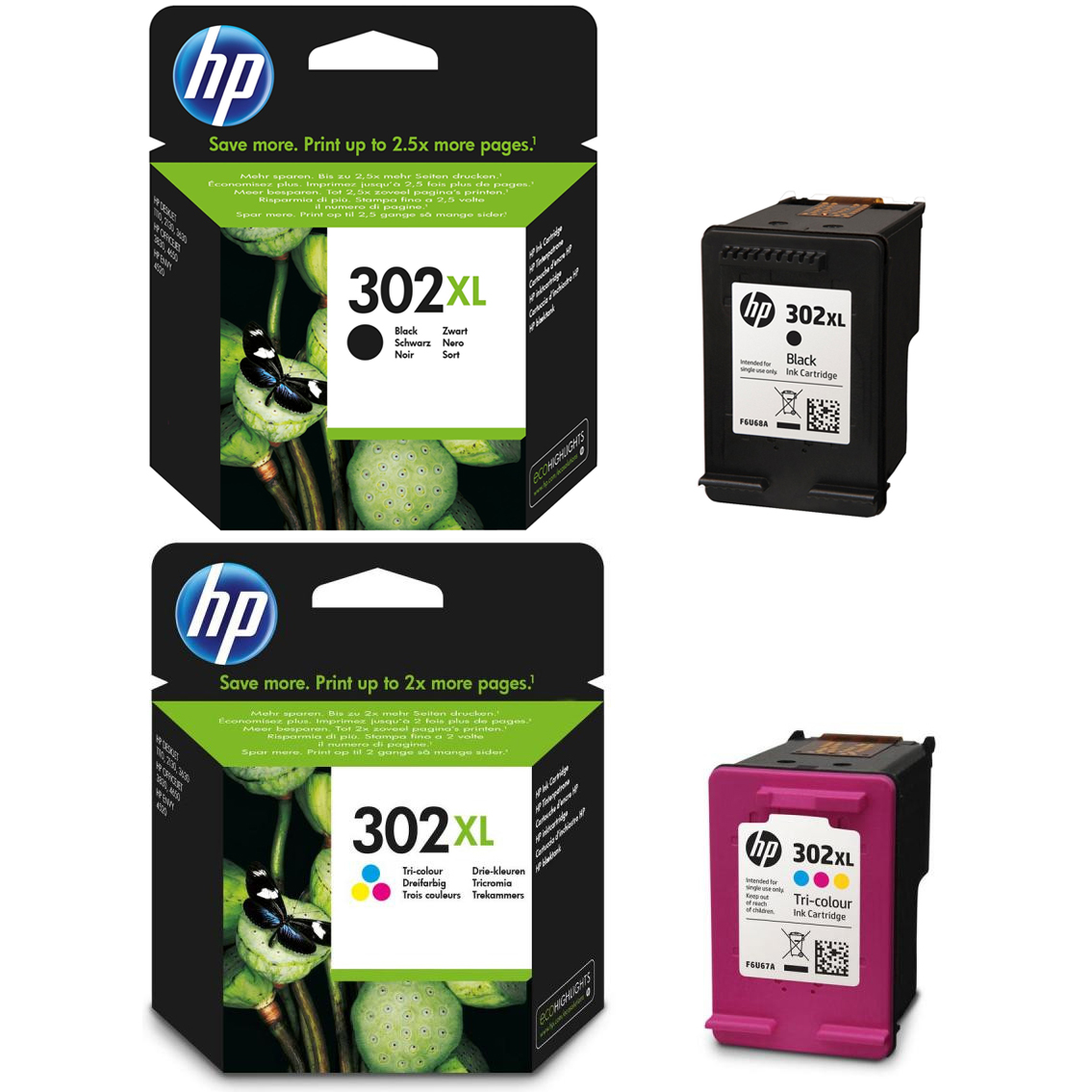 Original HP 302XL Black & Colour Combo Pack High Capacity Ink Cartridges (F6U68AE & F6U67AE)