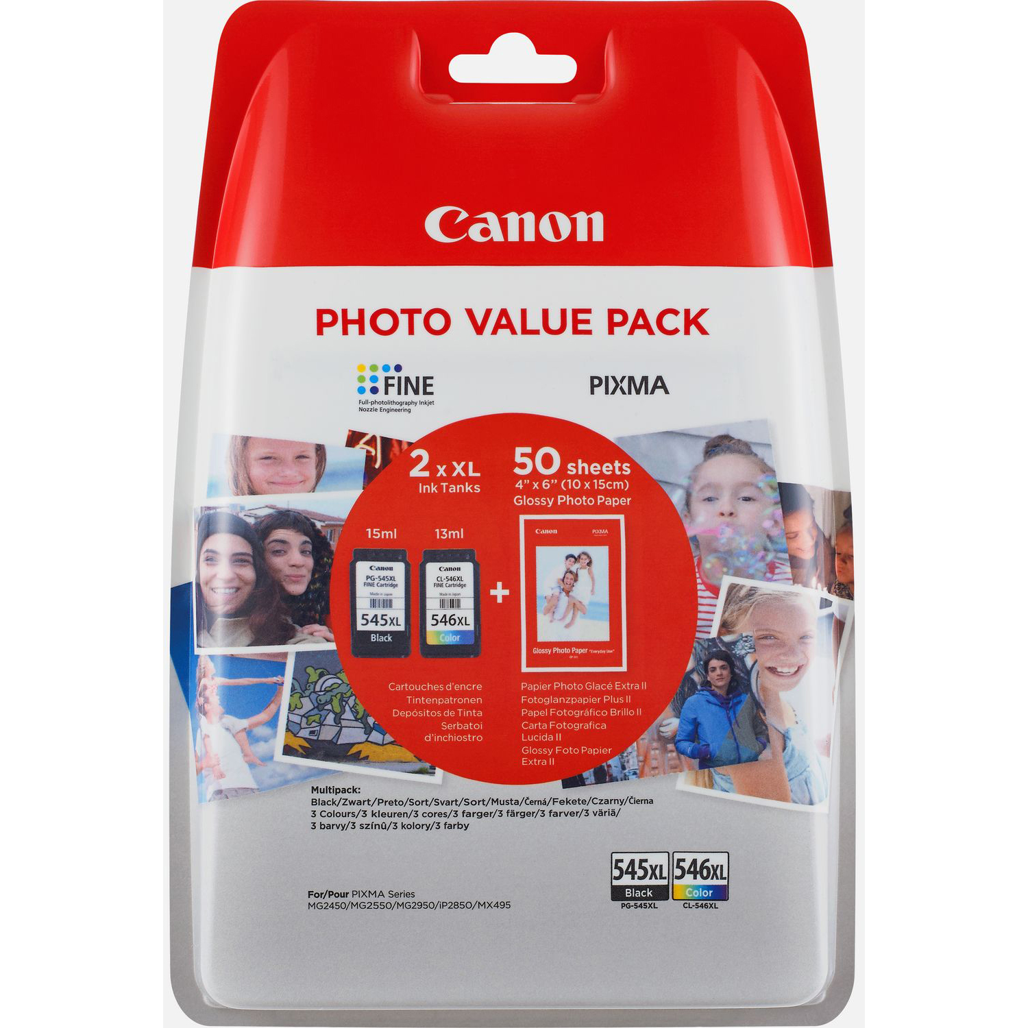 Original Canon PG-545XL / CL-546XL Black & Colour Combo Pack High Capacity Ink Cartridges & Paper (8286B006)