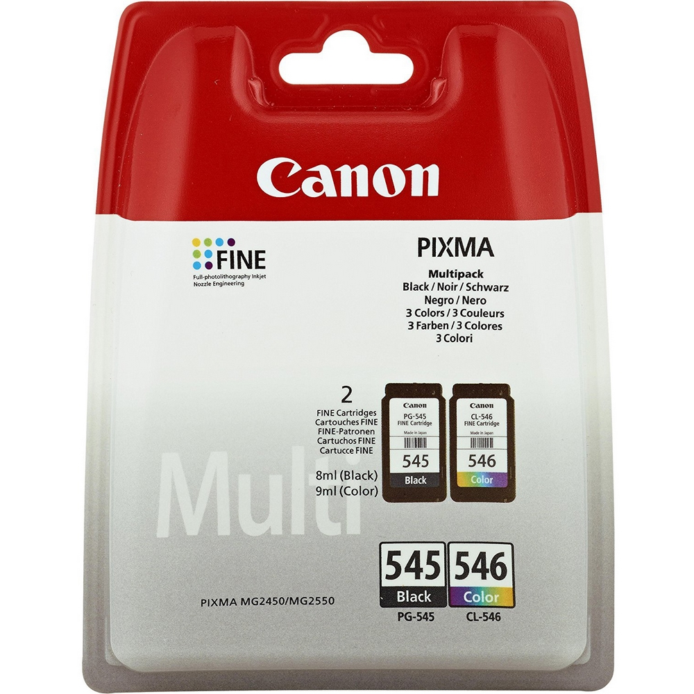 Original Canon PG-545 / CL-546 Black & Colour Combo Pack Ink Cartridges (8287B005)