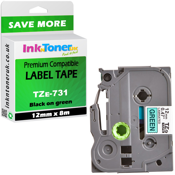 Premium Compatible Brother TZe-731 Black On Green 12mm x 8m Laminated P-Touch Label Tape (TZE731)