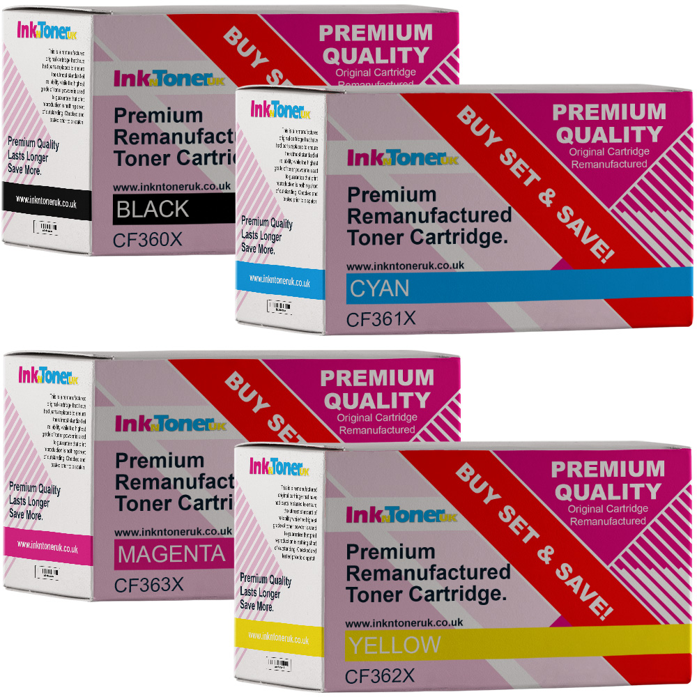 Premium Remanufactured HP 508X CMYK Multipack High Capacity Toner Cartridges (CF360X/ CF361X/ CF363X/ CF362X)