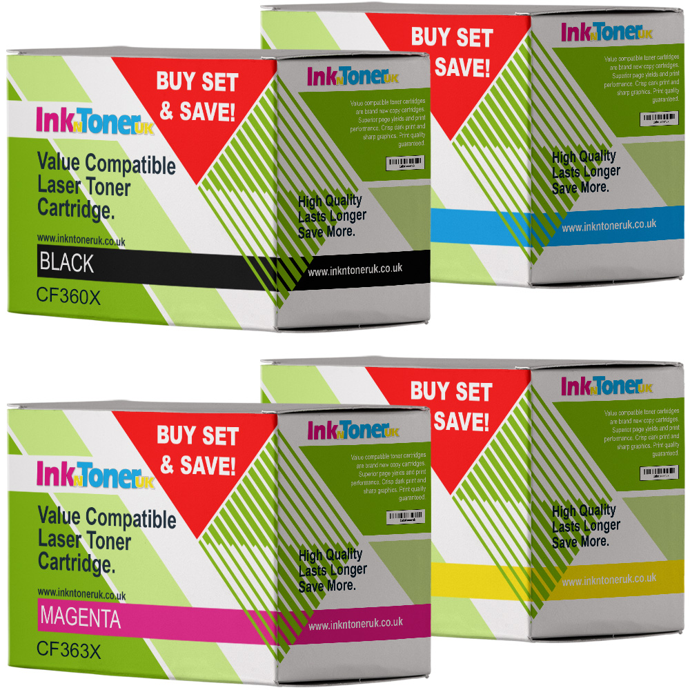 Value Compatible HP 508X CMYK Multipack High Capacity Toner Cartridges (CF360X/ CF361X/ CF363X/ CF362X)