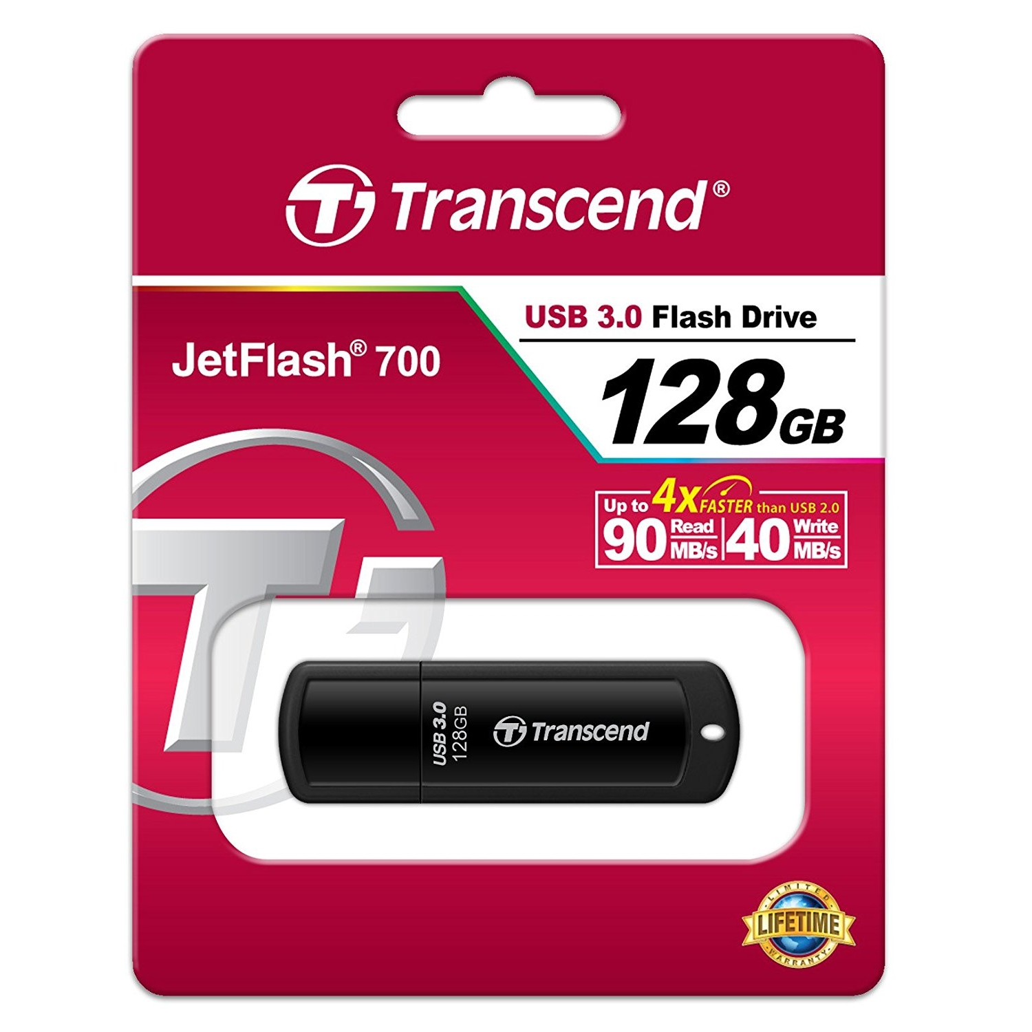 Original Transcend JetFlash 700 USB 3.0 Flash Drive (TS128GJF700)