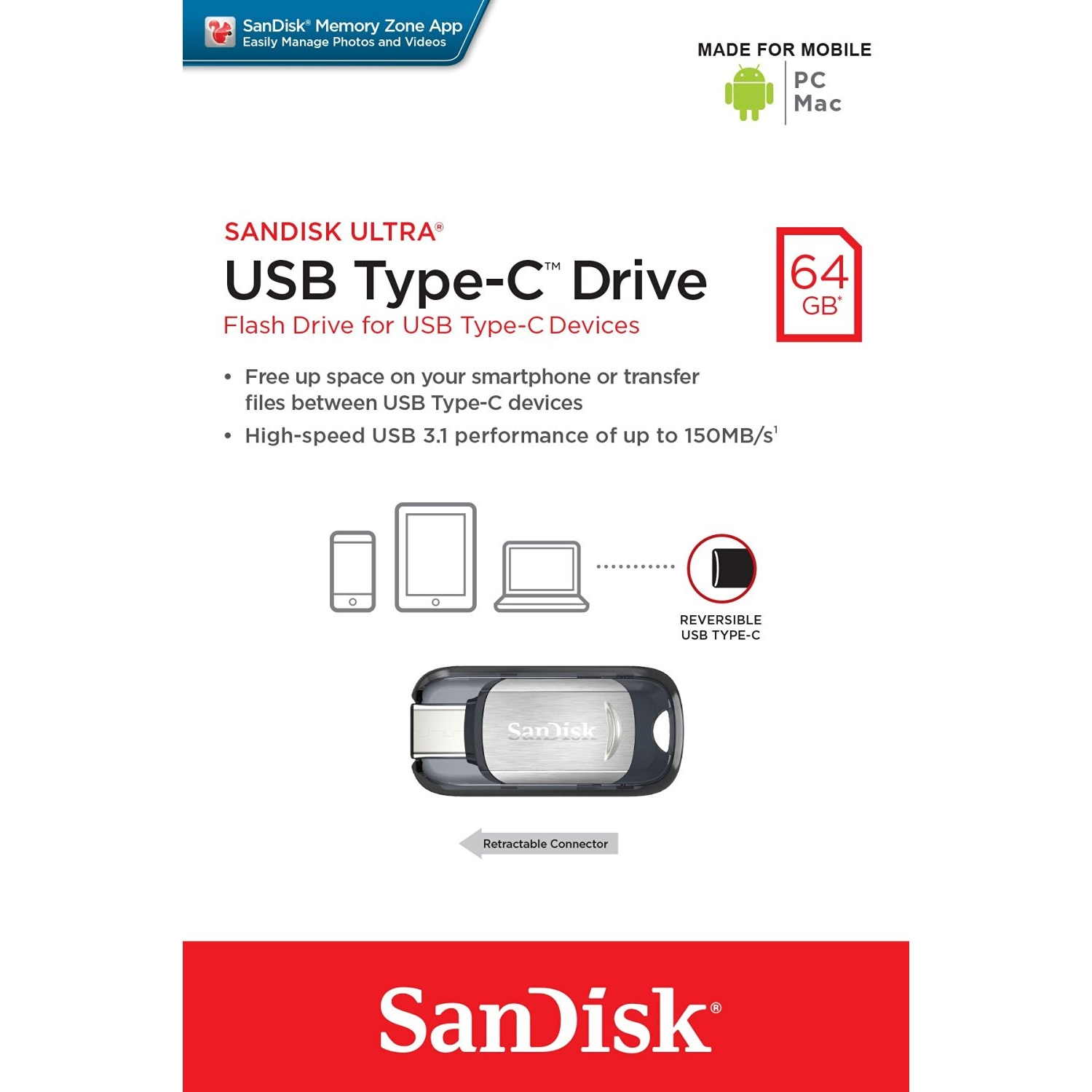 Original SanDisk Ultra Type-C 64GB USB 3.1 Flash Drive (SDCZ450-064G-G46)