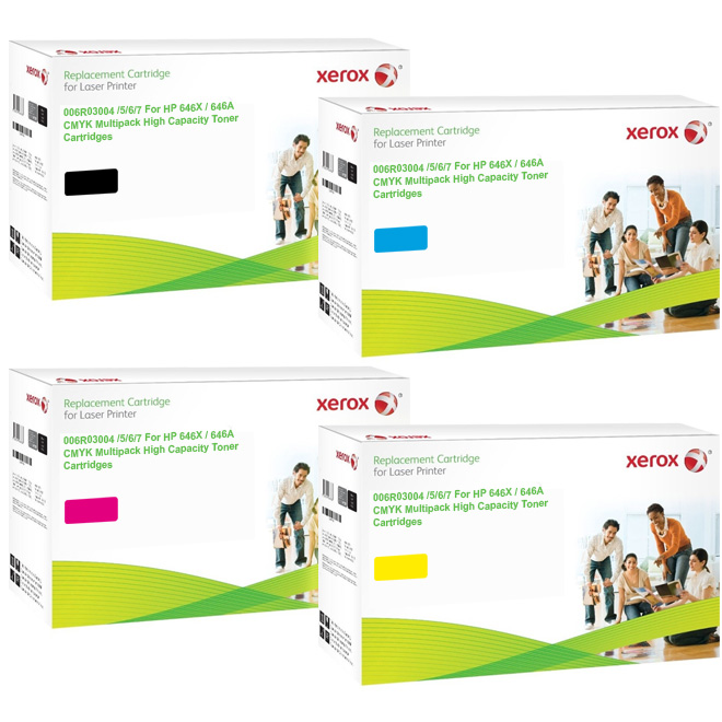Xerox Ultimate HP 646X / 646A CMYK Multipack High Capacity Toner Cartridges (CE264X/ CF031A/ CF033A/ CF032A) (Xerox 006R03004/ 006R03005/ 006R03006/ 006R03007)
