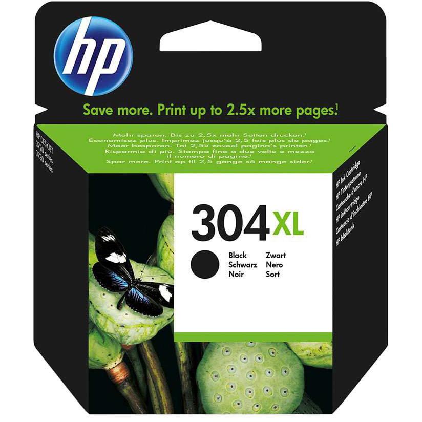 Original HP 304XL Black High Capacity Ink Cartridge (N9K08AE)