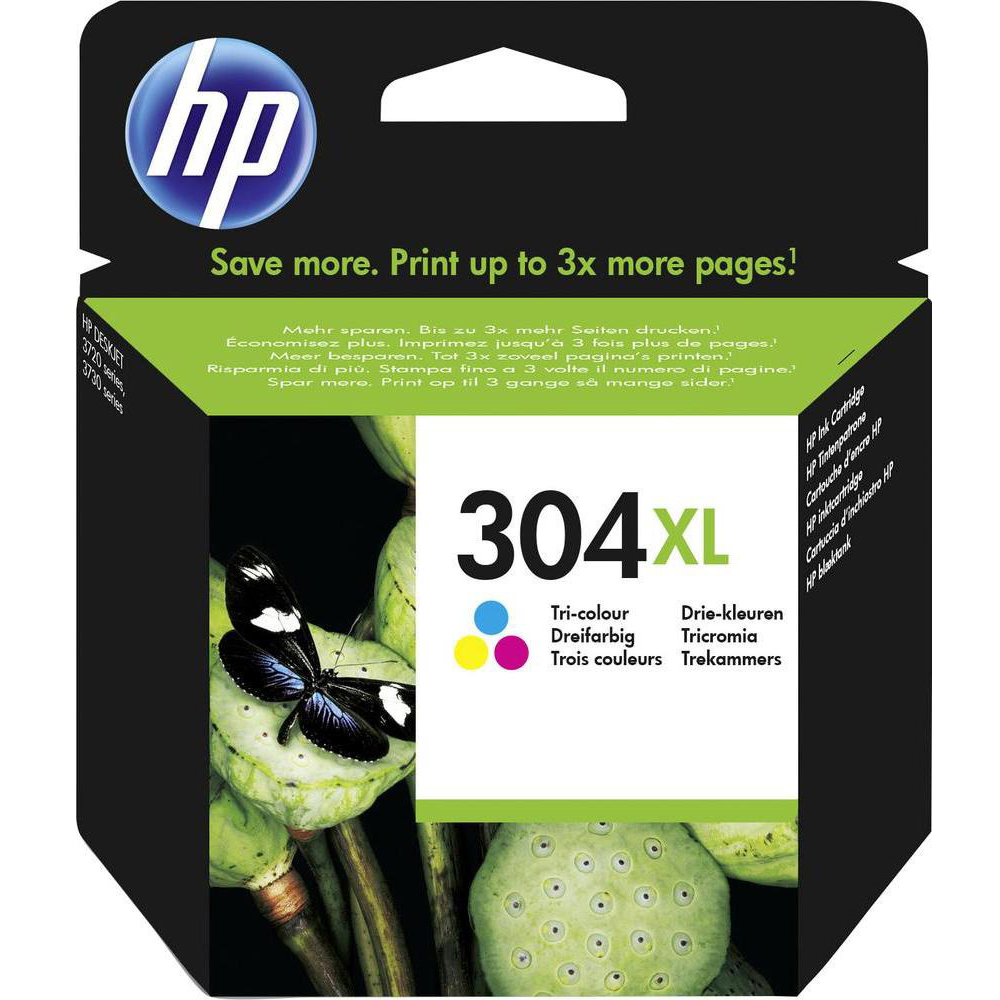 Original HP 304XL Colour High Capacity Ink Cartridge (N9K07AE)
