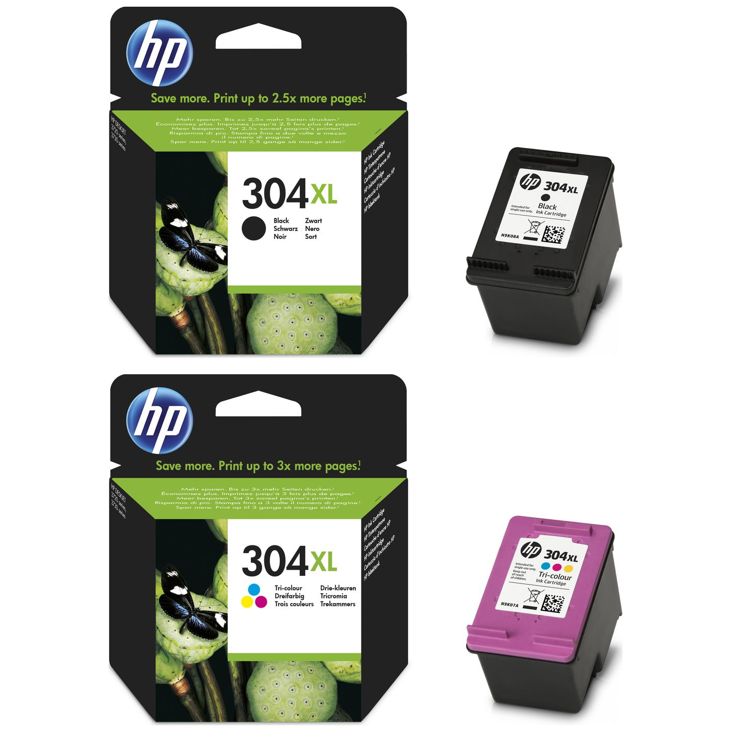 Original HP 304XL Black & Colour Combo Pack High Capacity Ink Cartridges (N9K08AE & N9K07AE)