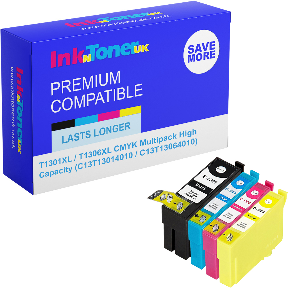 Premium Compatible Epson T1301XL / T1306XL CMYK Multipack High Capacity Ink Cartridges (C13T13014010 / C13T13064010)