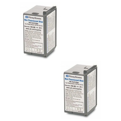 Original Pitney Bowes 793-5SB / 793-5BI Blue Twin Pack Franking Ink Cartridges (10019-801)