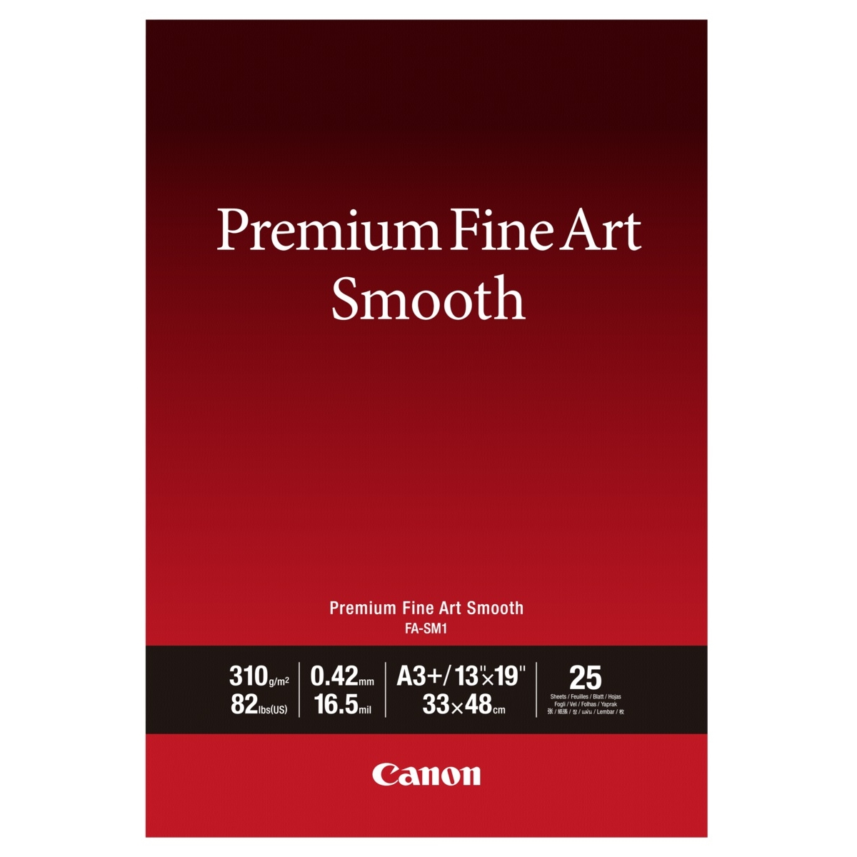 Original Canon FA-SM1 310gsm Premium Fine Art Smooth A3+ Cotton Matte Photo Paper - 25 Sheets (1711C004)