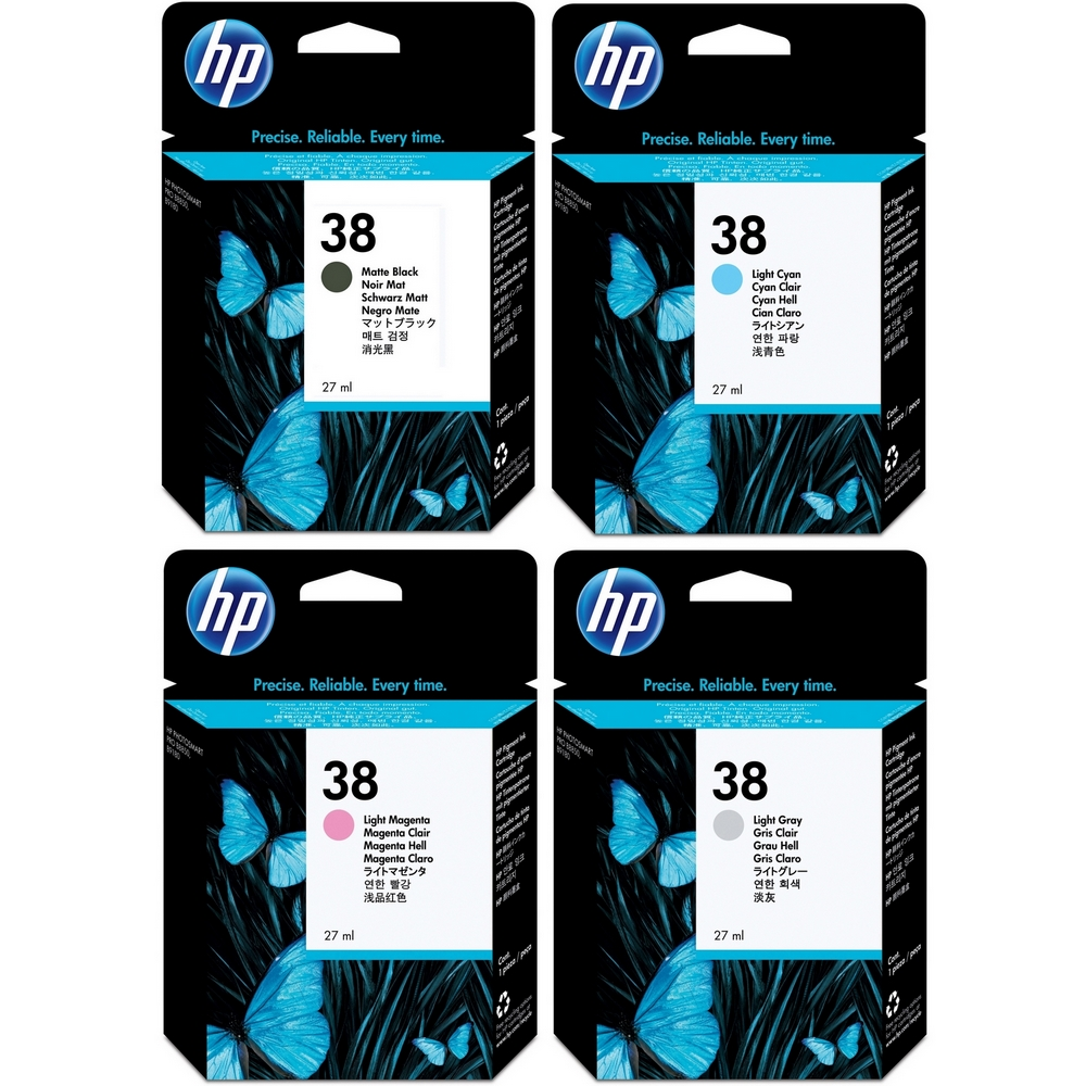 Original HP 38 Multipack Set Of 4 Ink Cartridges (C9412A / C9418A / C9419A / C9414A)