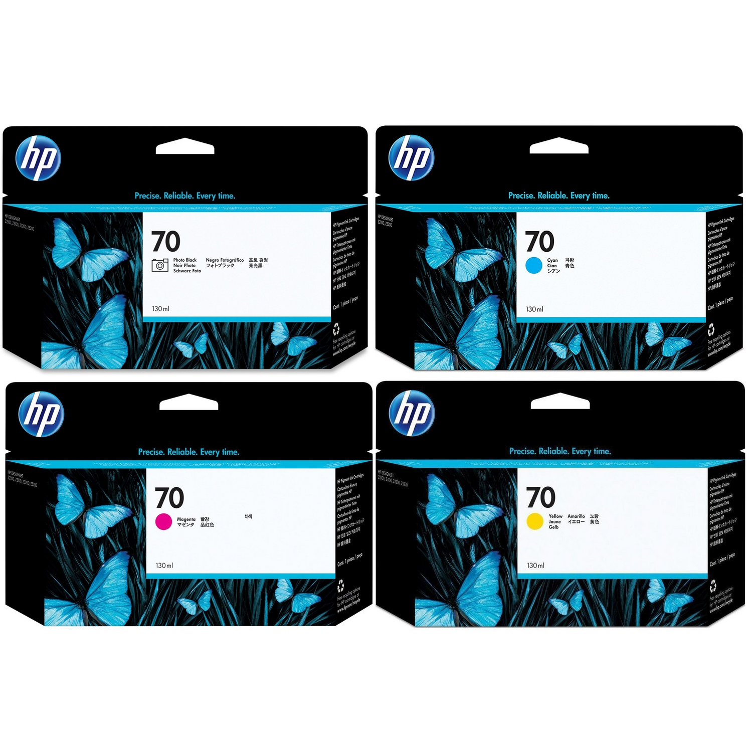 Original HP 70 Multipack 4 Colour Ink Cartridges (C9449A / C9452A / C9453A / C9454A)