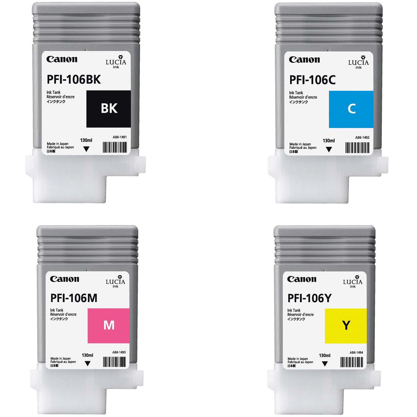 Original Canon PFI-106 CMYK Multipack Ink Cartridges (6621B001 / PFI106C / 6623B001 / 6624B001)