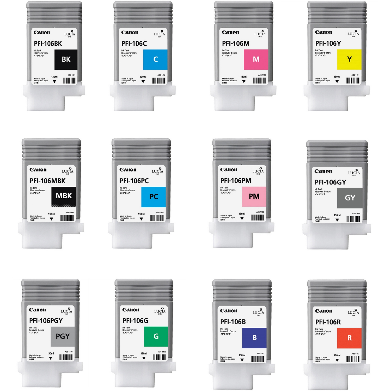 Original Canon PFI-106 Multipack Set Of 12 Ink Cartridges (PFI-106MBK /BK/C/M/Y/PC/PM /GY/PGY/G/B/R)
