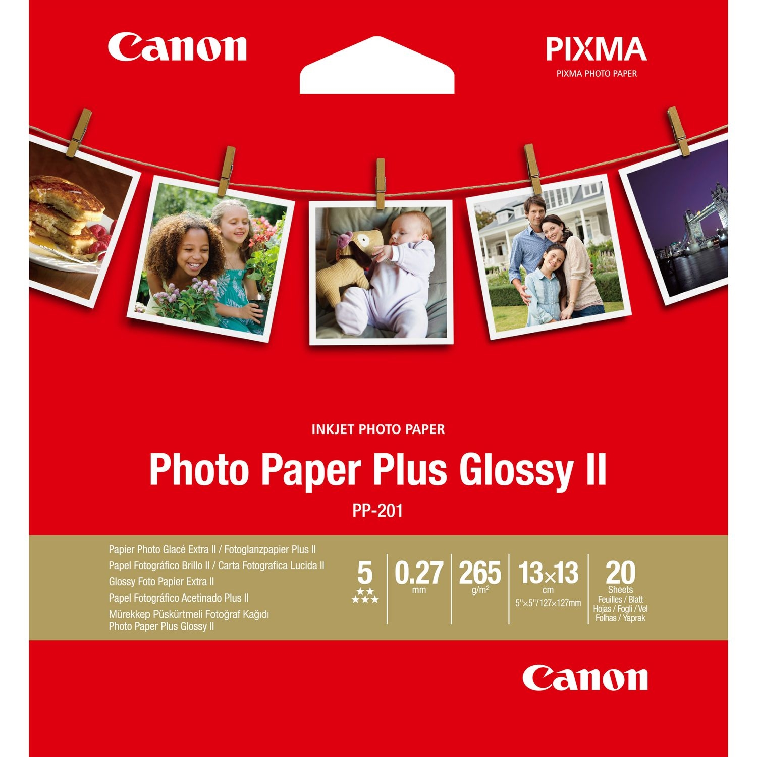Original Canon PP-201 265gsm 5x5in Photo Paper Plus - 20 Sheets (2311B060)