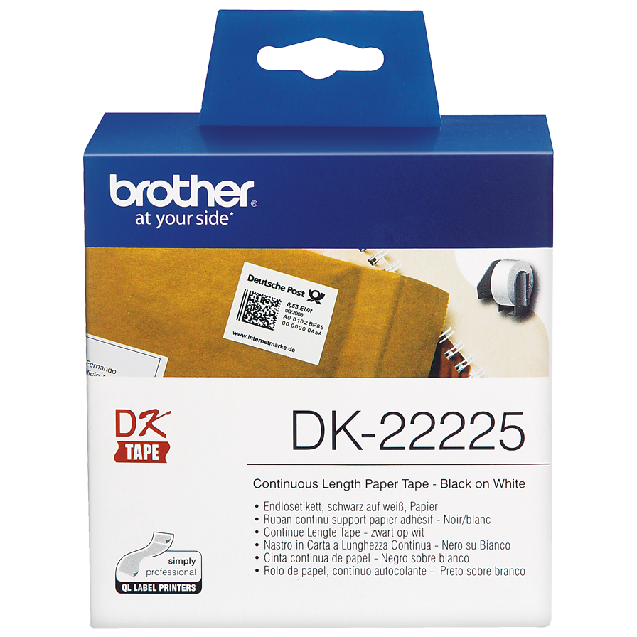 Original Brother DK-22225 Black On White 38mm x 30.48m Continuous Length Paper Label Roll Tape (DK22225)