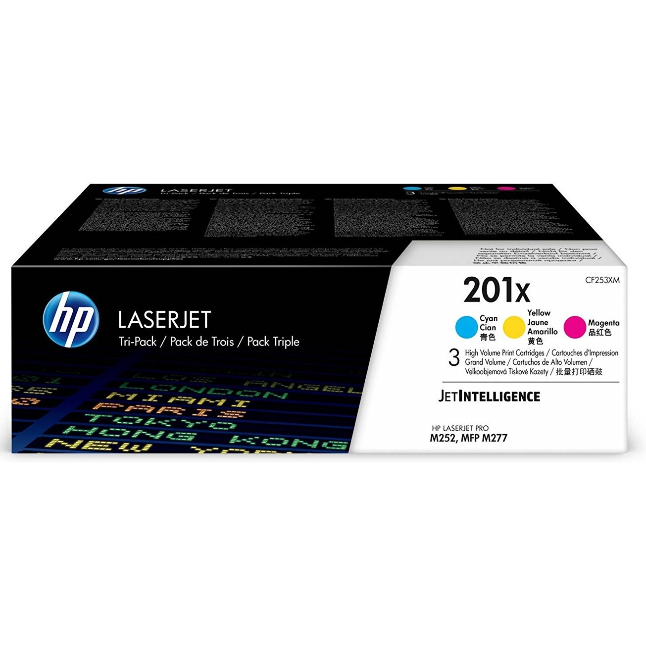 Original HP 201X Cyan Magenta Yellow Pack High Capacity Toner Cartridges (CF253XM)