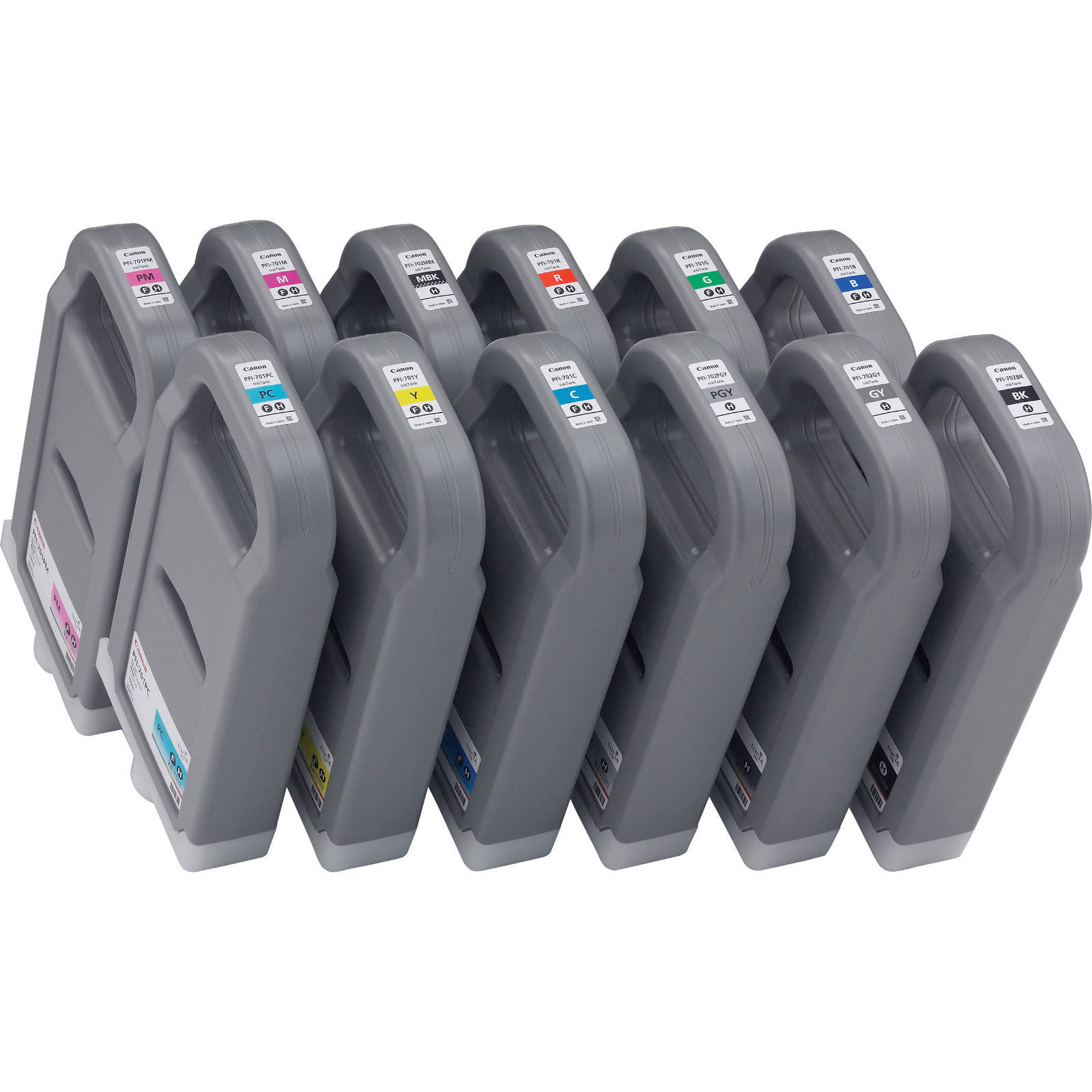 Original Canon PFI-701 Multipack Set Of 12 High Capacity Ink Cartridges (PFI-701BK MBK/C/M/Y/PC/PM/GY/PGY/G/B/R)