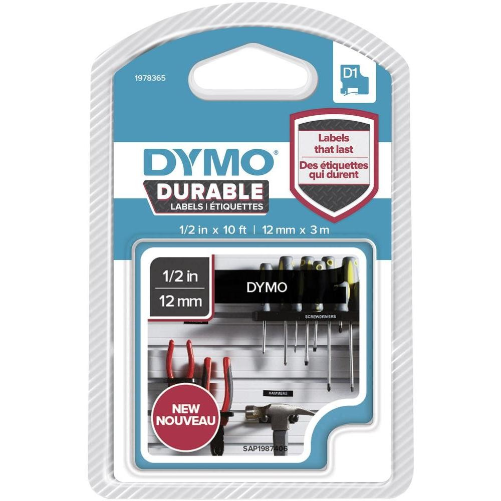 Original Dymo 1978365 White On Black 12mm x 3m D1 Durable Label Tape (1978365)