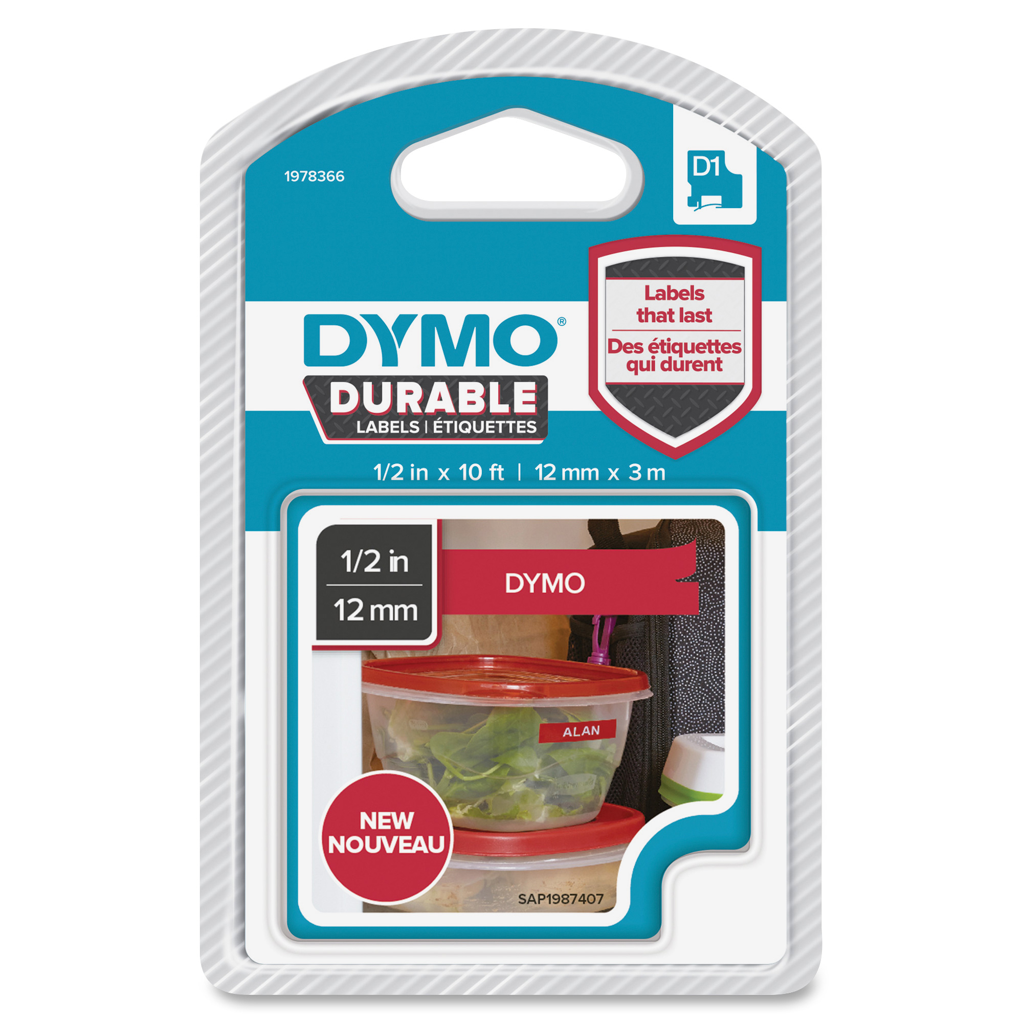 Original Dymo 1978366 White On Red 12mm x 3m D1 Durable Label Tape (1978366)