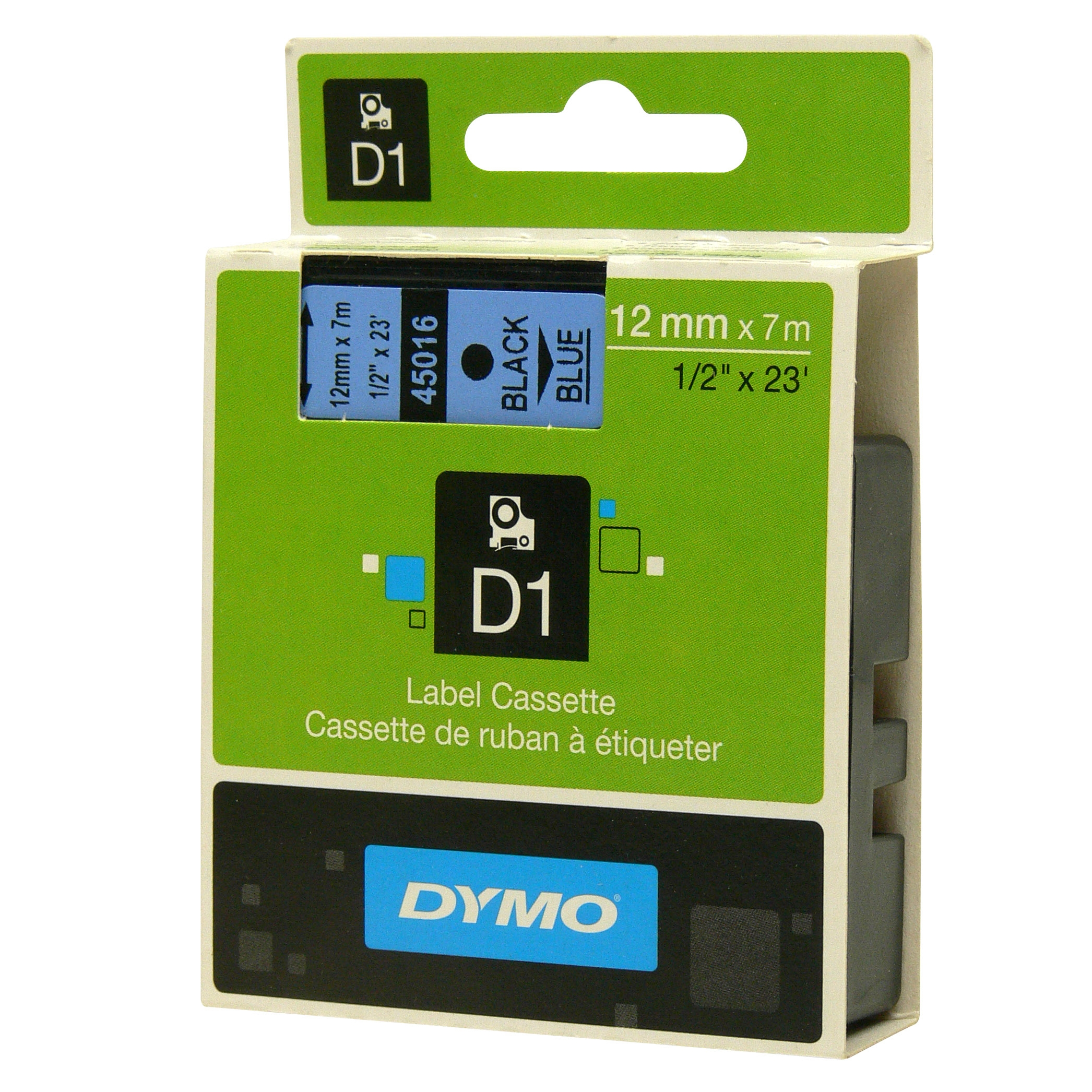 Original Dymo 45016 Black On Blue 12mm x 7m D1 Label Tape (S0720560)
