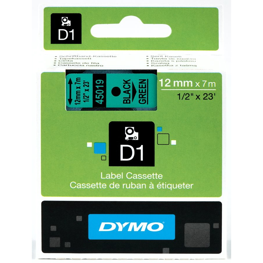 Original Dymo 45019 Black On Green 12mm x 7m D1 Label Tape (S0720590)