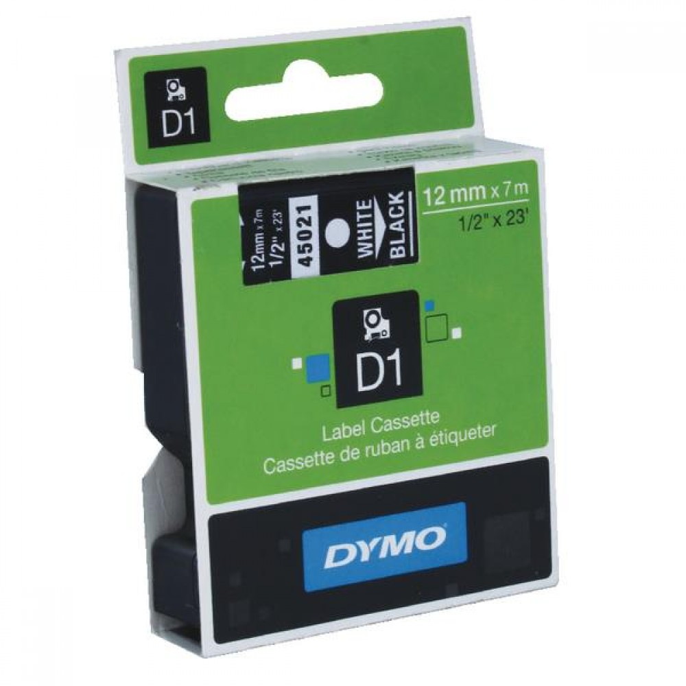 Original Dymo 45021 White On Black 12mm x 7m D1 Label Tape (S0720610)