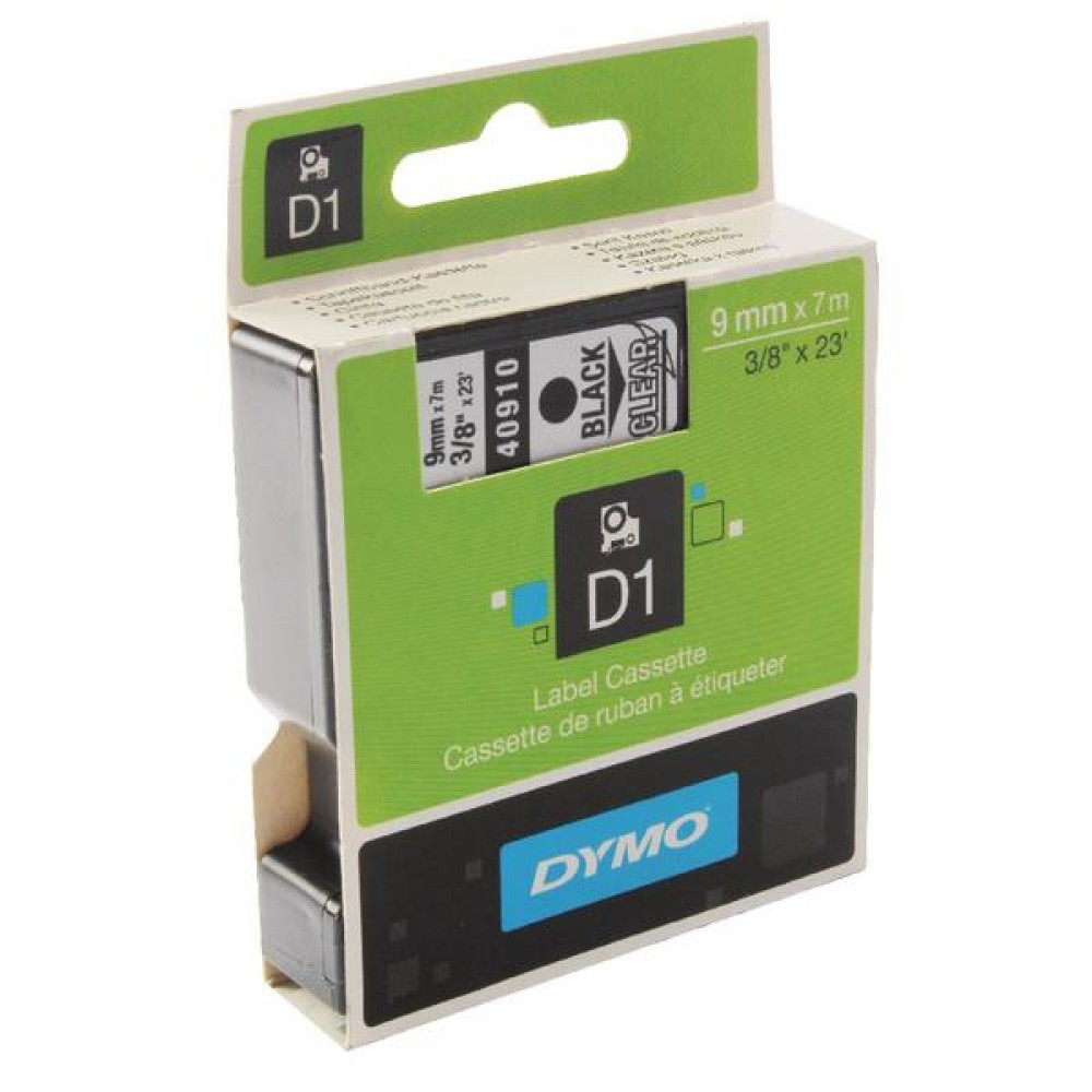 Original Dymo 40910 Black On Clear 9mm x 7m D1 Label Tape (S0720670)