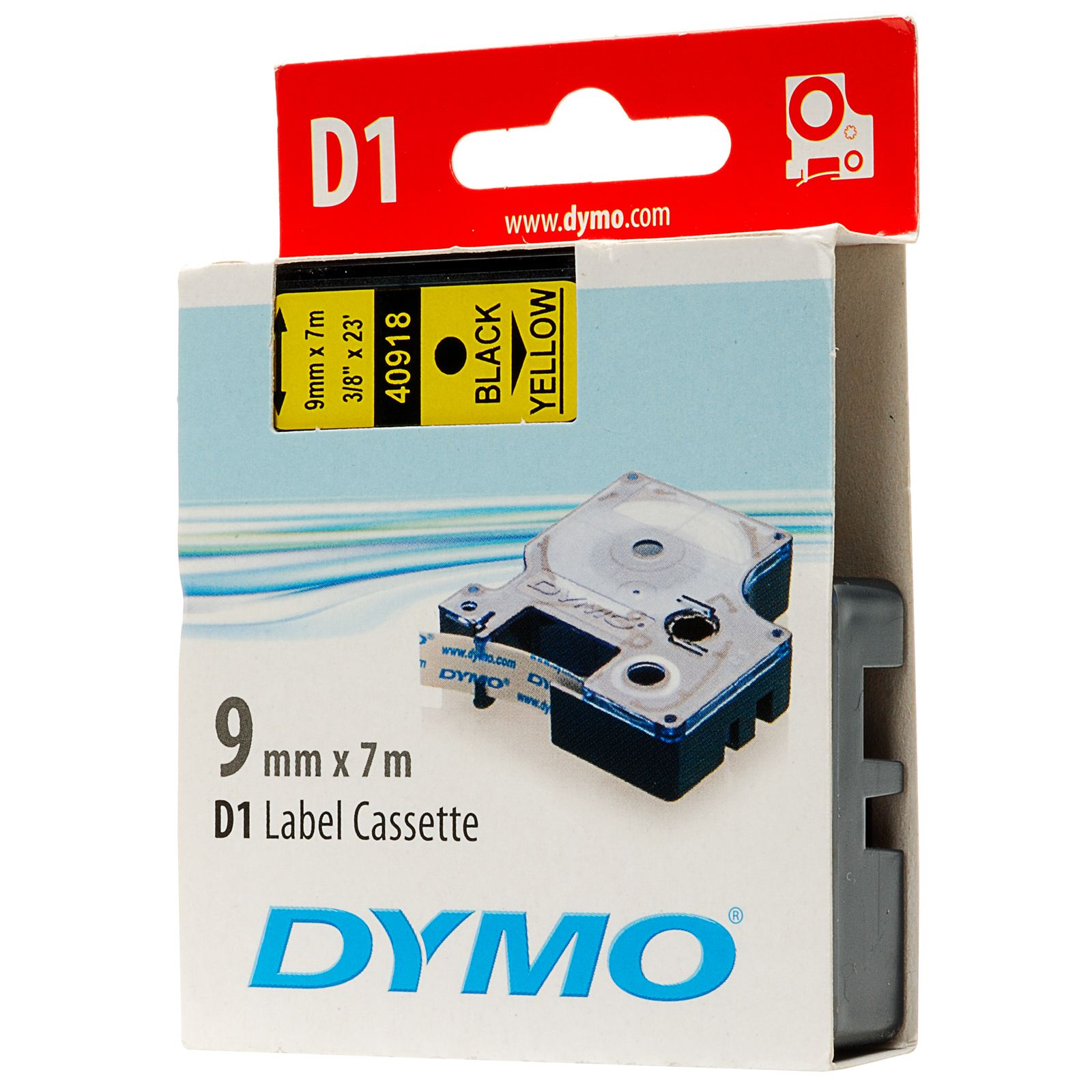Original Dymo 40918 Black On Yellow 9mm x 7m D1 Label Tape (S0720730)