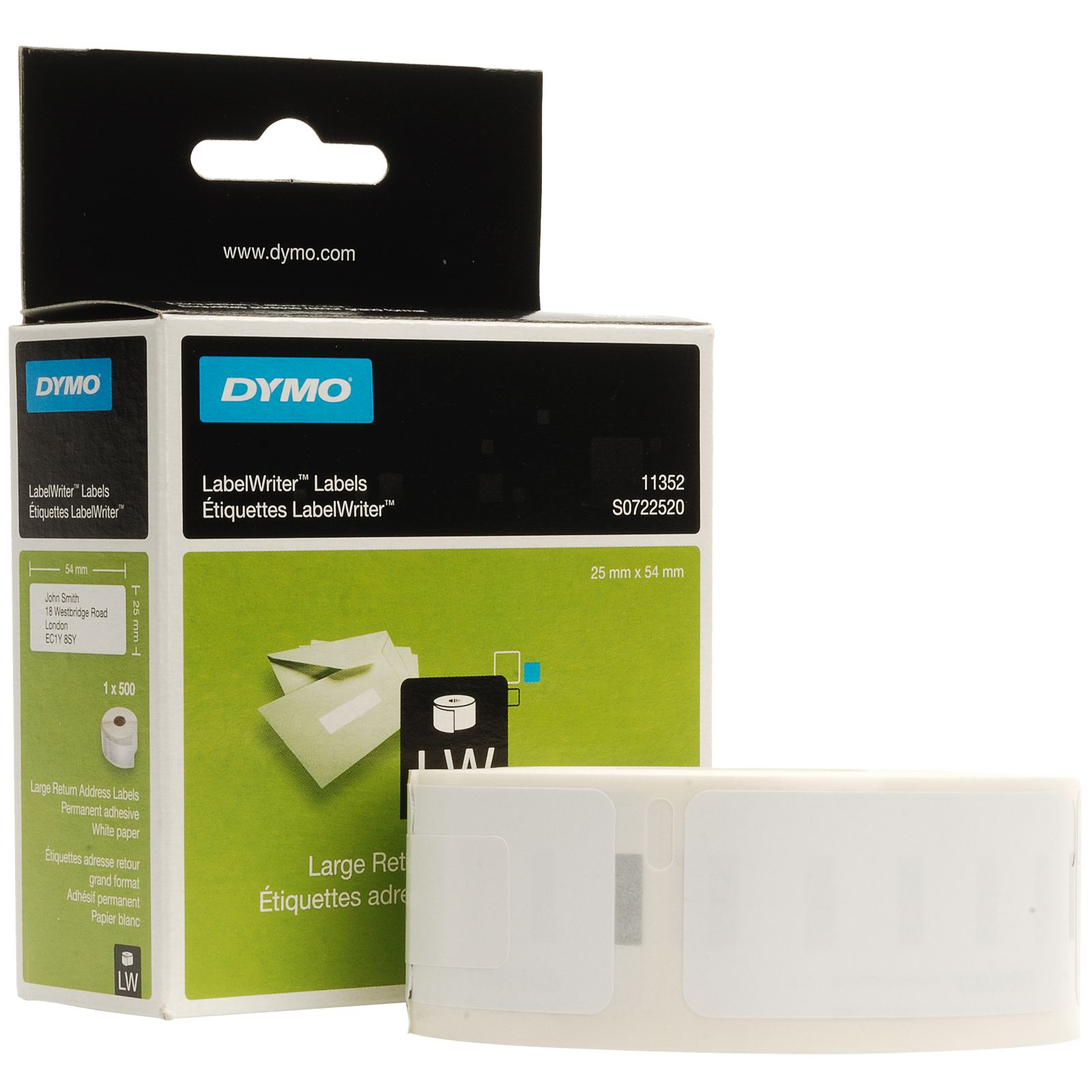 Original Dymo 11352 White 54mm x 25mm Large Return Address Label Tape - 500 Labels (S0722520)