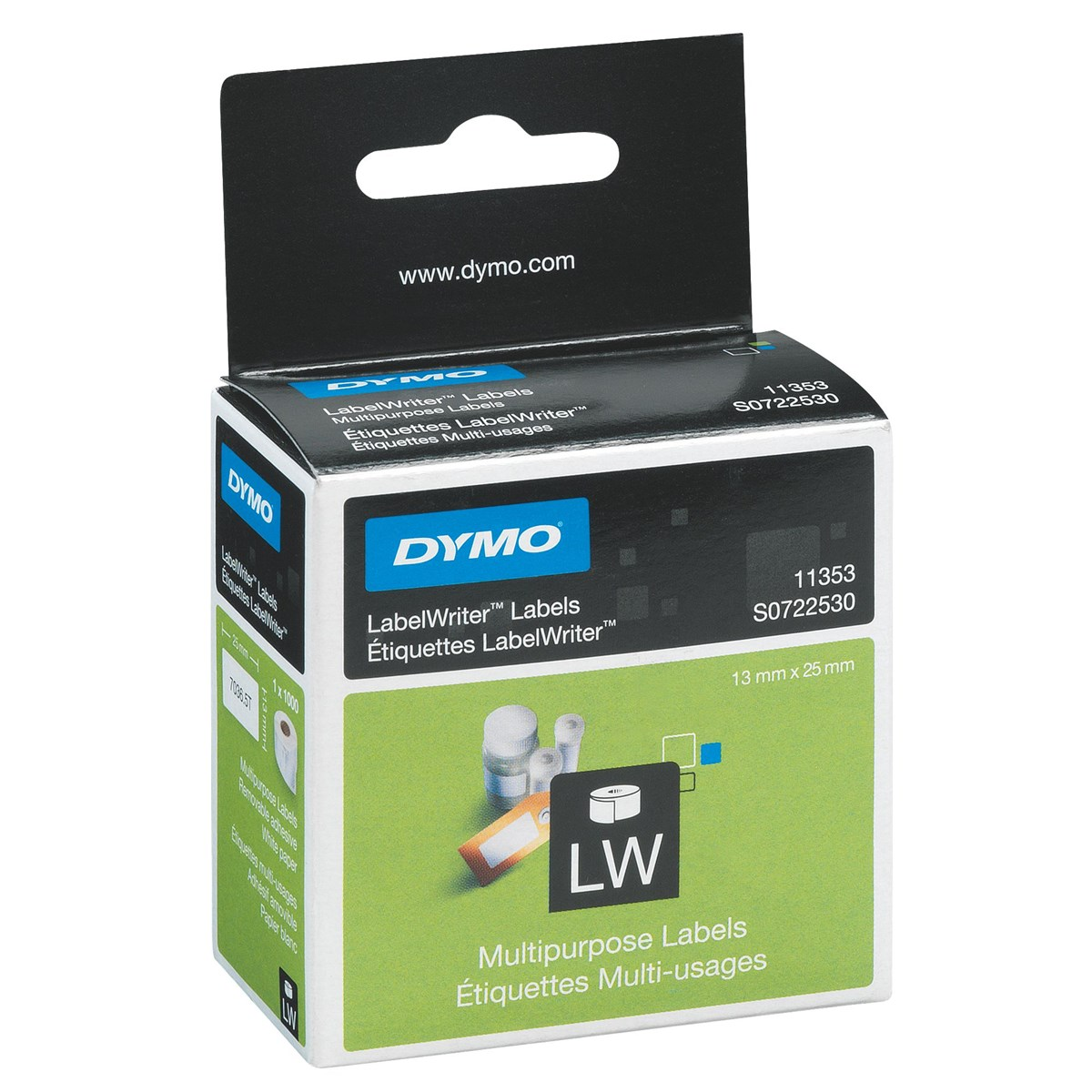 Original Dymo 11353 White 25mm x 13mm Multipurpose Label Tape - 1000 Labels (S0722530)
