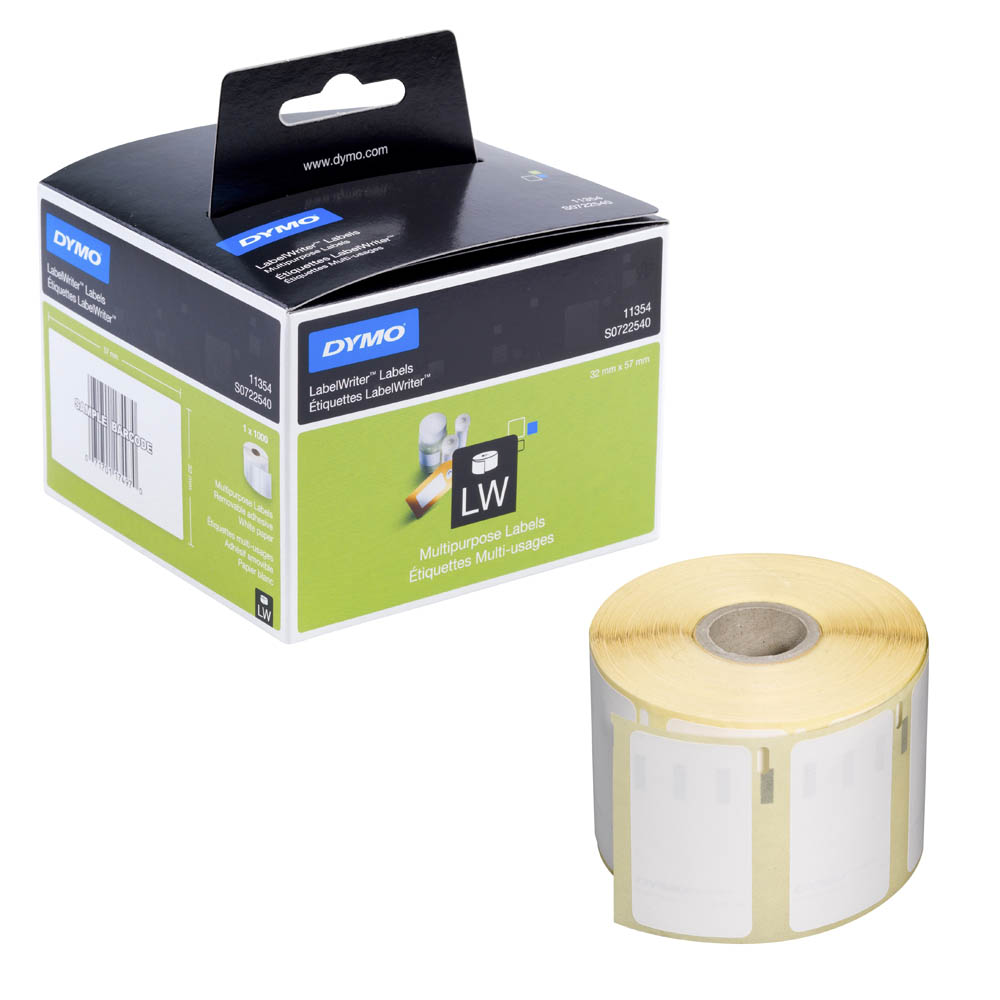 Original Dymo 11354 White 57mm x 32mm Removable Multipurpose Label Tape - 1000 Labels (S0722540)