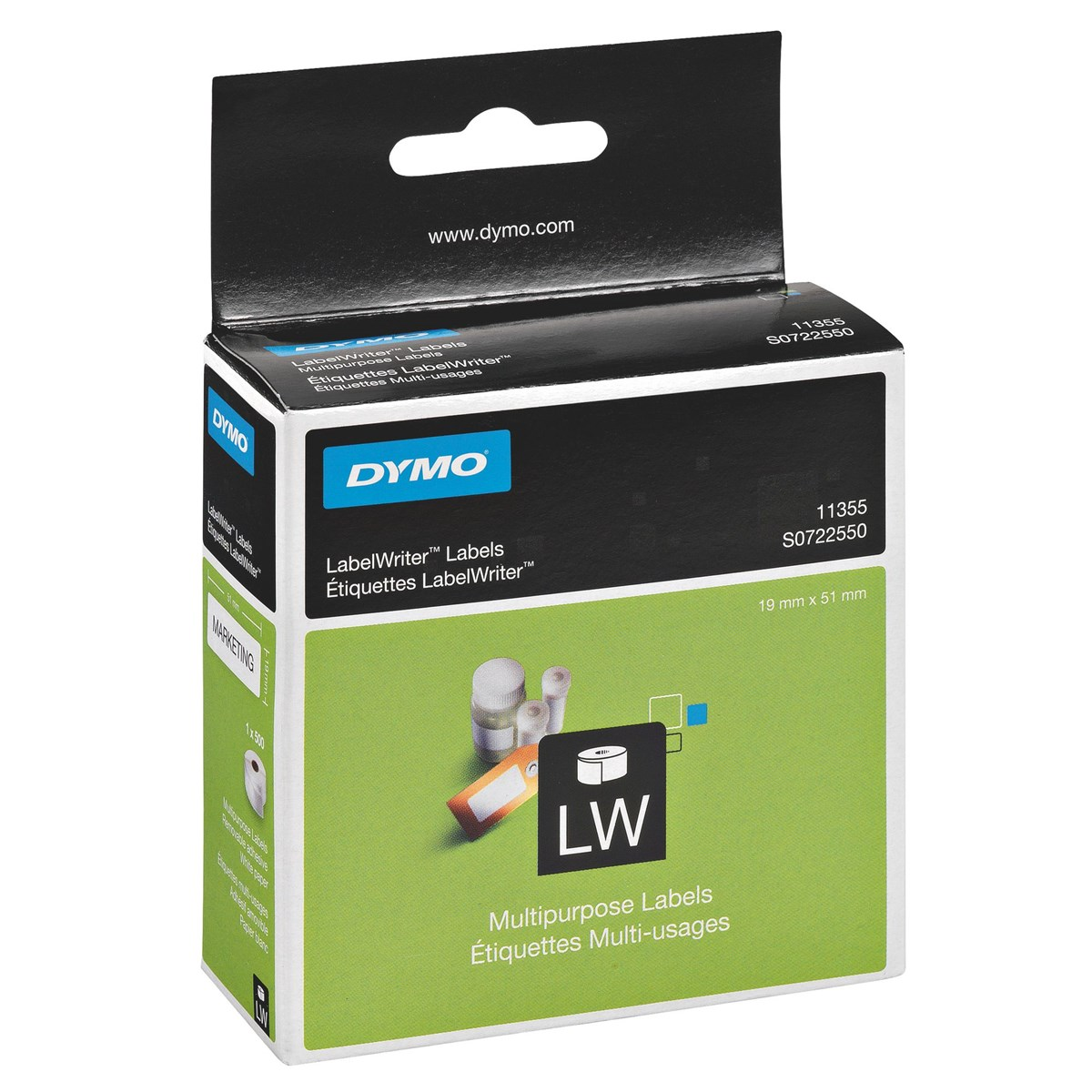 Original Dymo 11355 White 19mm x 51mm Multipurpose Label Tape - 500 Labels (S0722550)