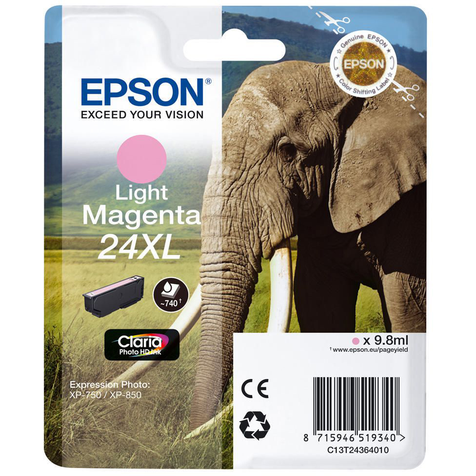 Original Epson 24XL Light Magenta High Capacity Ink Cartridge (C13T24364012)