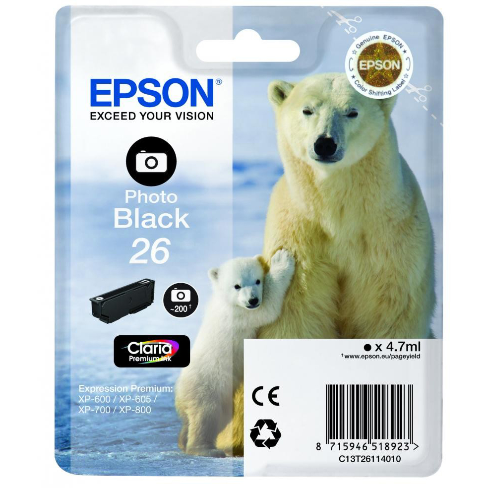 Original Epson 26 Photo Black Ink Cartridge (C13T26114012)