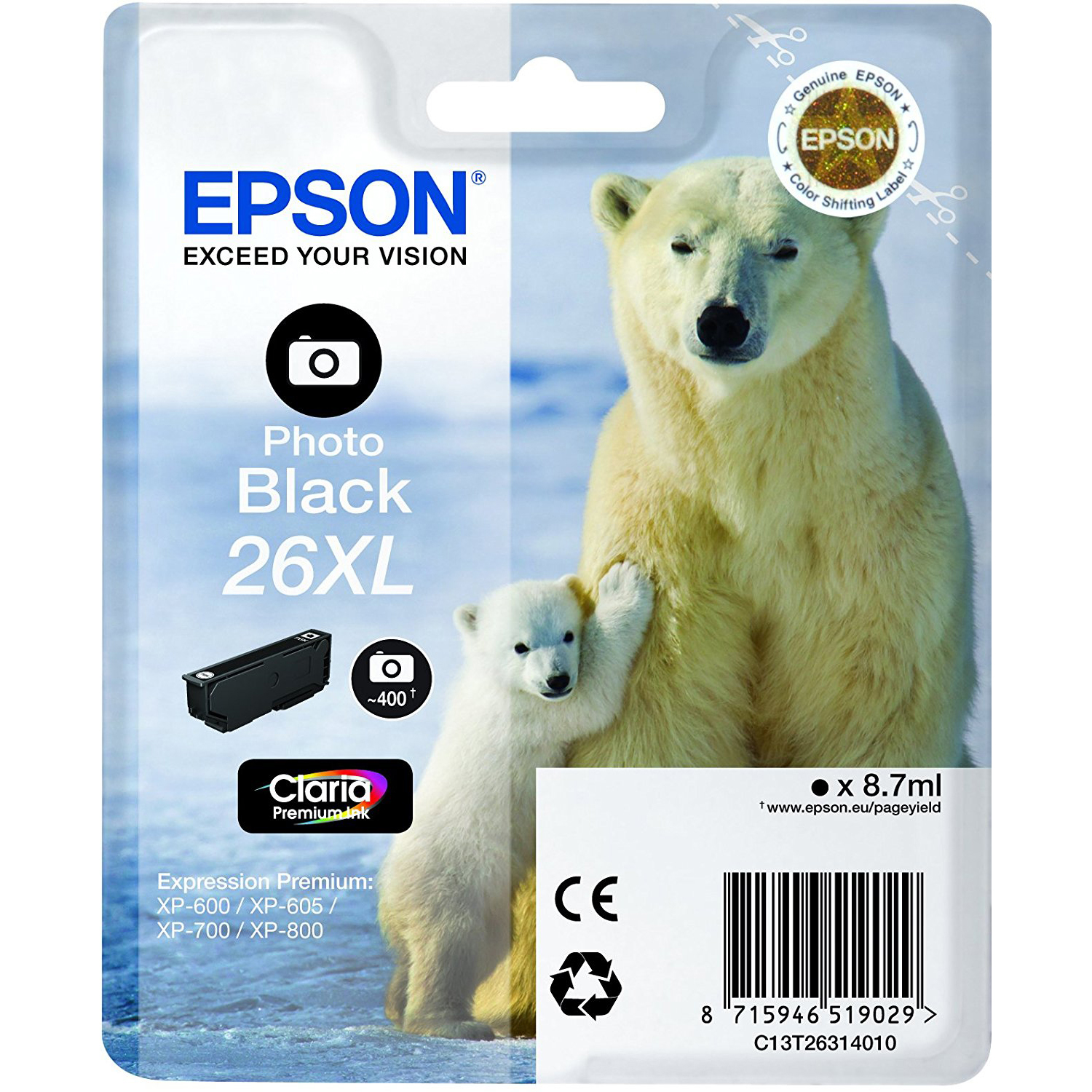Original Epson 26XL Photo Black High Capacity Ink Cartridge (C13T26314012)