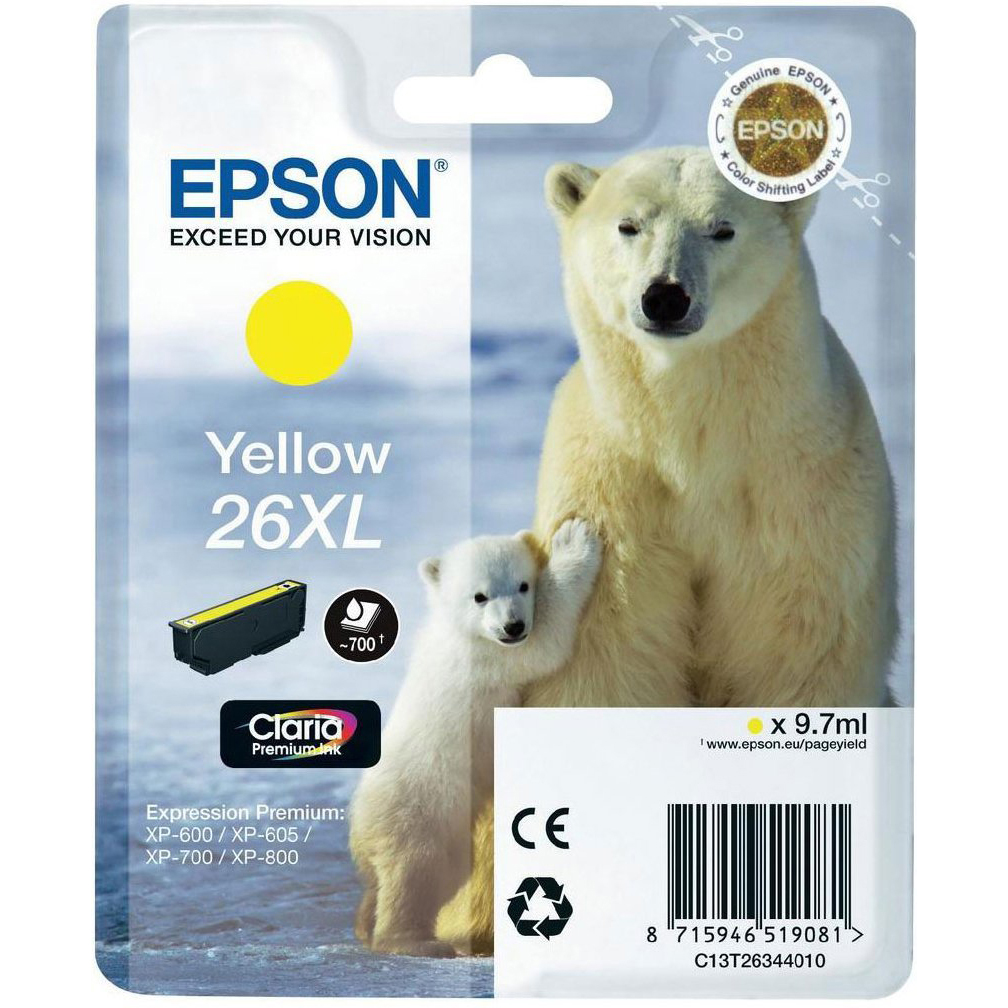 Original Epson 26XL Yellow High Capacity Ink Cartridge (C13T26344012)